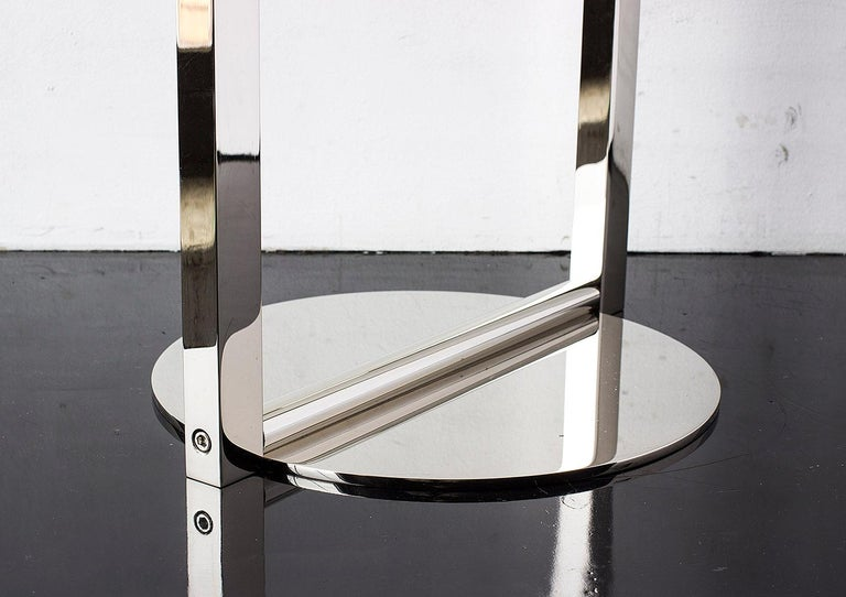 American Untitled Side Table 2.0 Polished Nickel Small Round Accent, End or Drink Tray For Sale