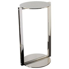 Untitled Side Table 2.0 Polished Nickel Small Round Accent, End or Drink Tray