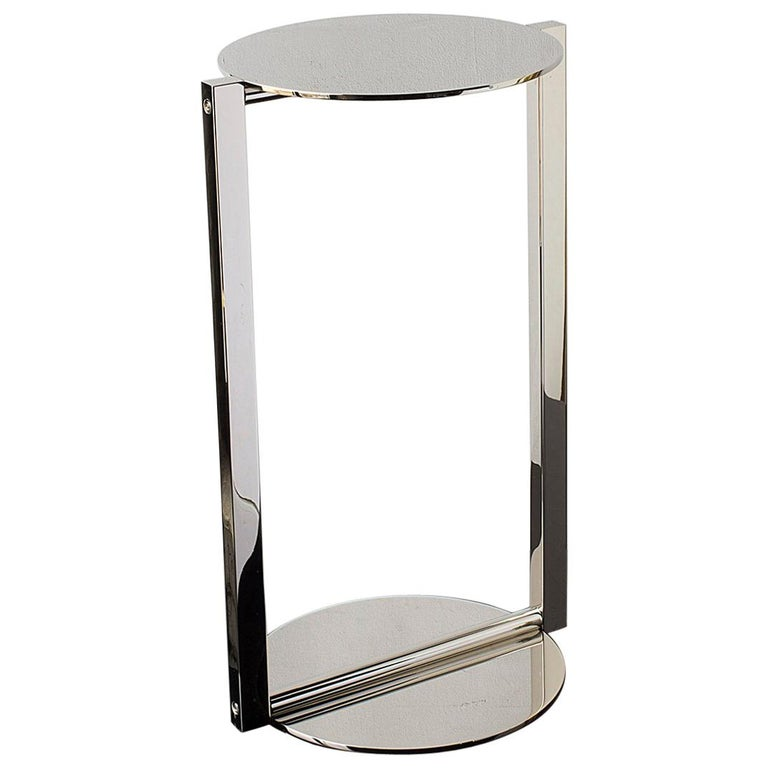 Untitled Side Table 2.0 Polished Nickel Small Round Accent, End or Drink Tray For Sale