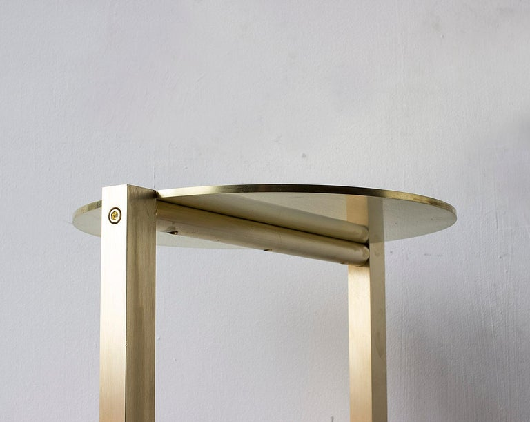 Bauhaus Untitled Side Table 2.0 Satin Brass Small Round Accent, End or Drink Tray For Sale