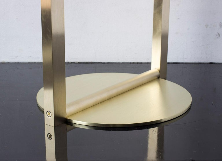American Untitled Side Table 2.0 Satin Brass Small Round Accent, End or Drink Tray For Sale