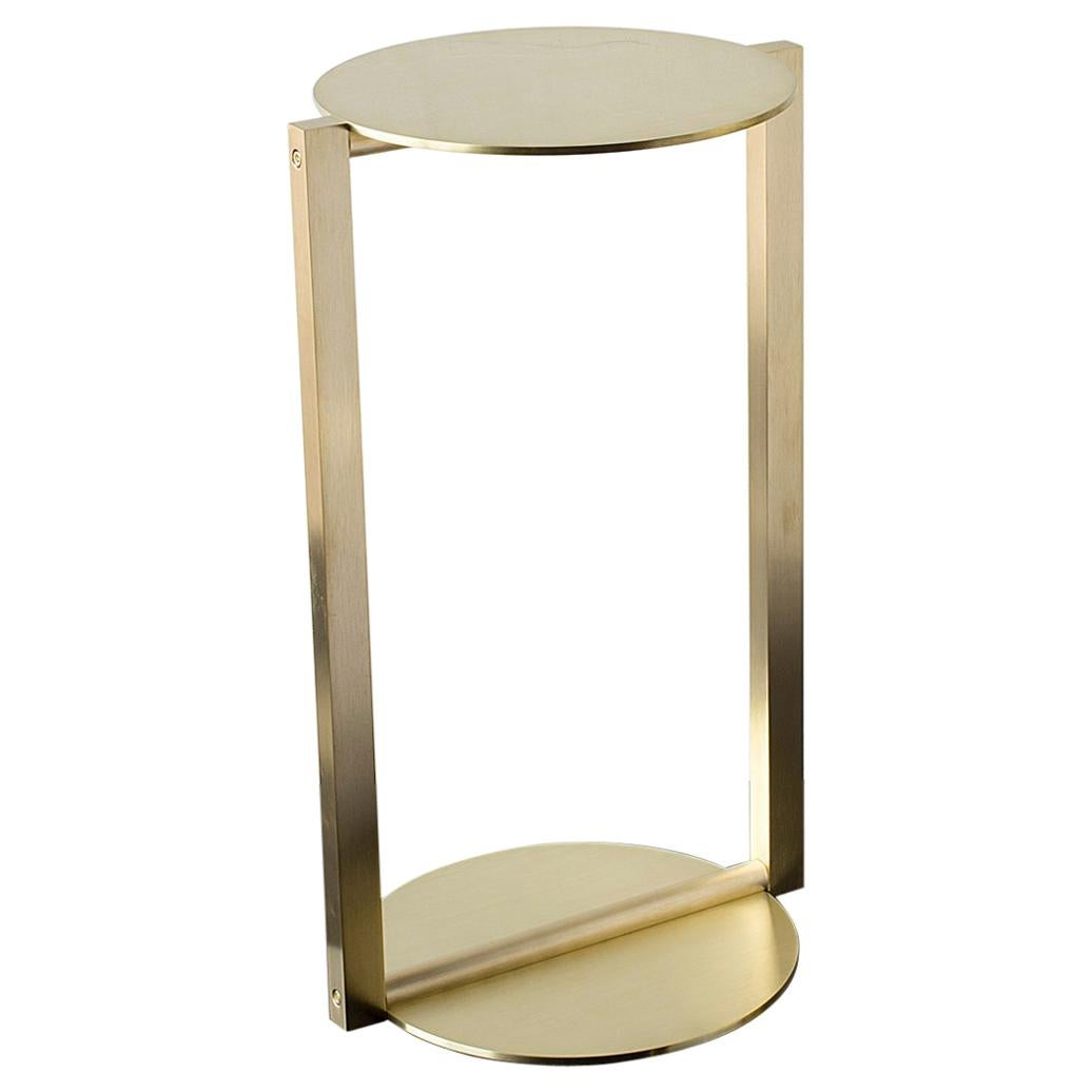 Untitled Side Table 2.0 Satin Brass Small Round Accent, End or Drink Tray