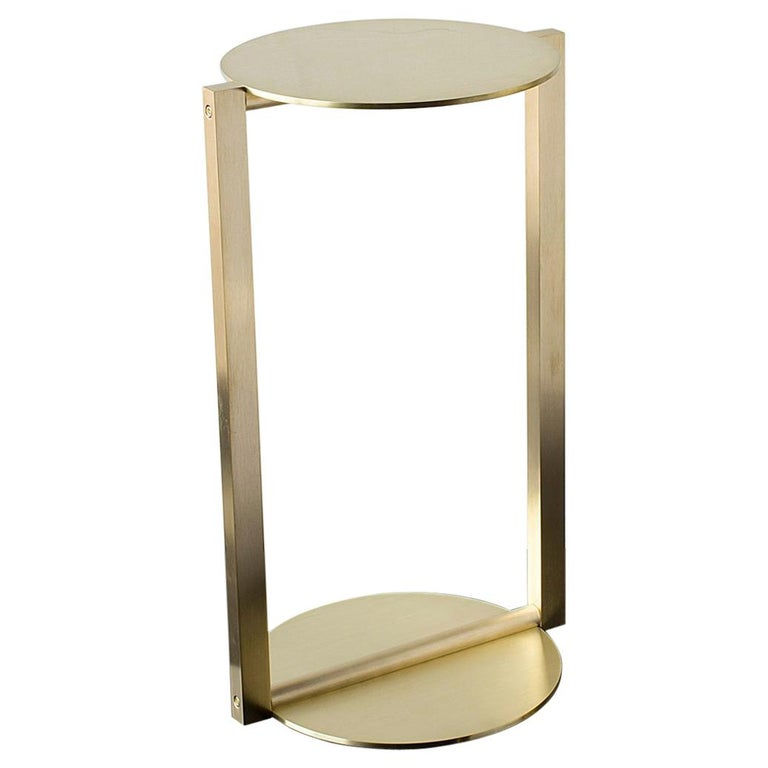 Untitled Side Table 2.0 Satin Brass Small Round Accent, End or Drink Tray For Sale