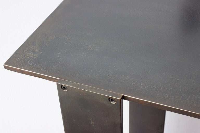 Contemporary Untitled Side Table Matte Blackened Brass Small Accent, End or Drink Stand For Sale
