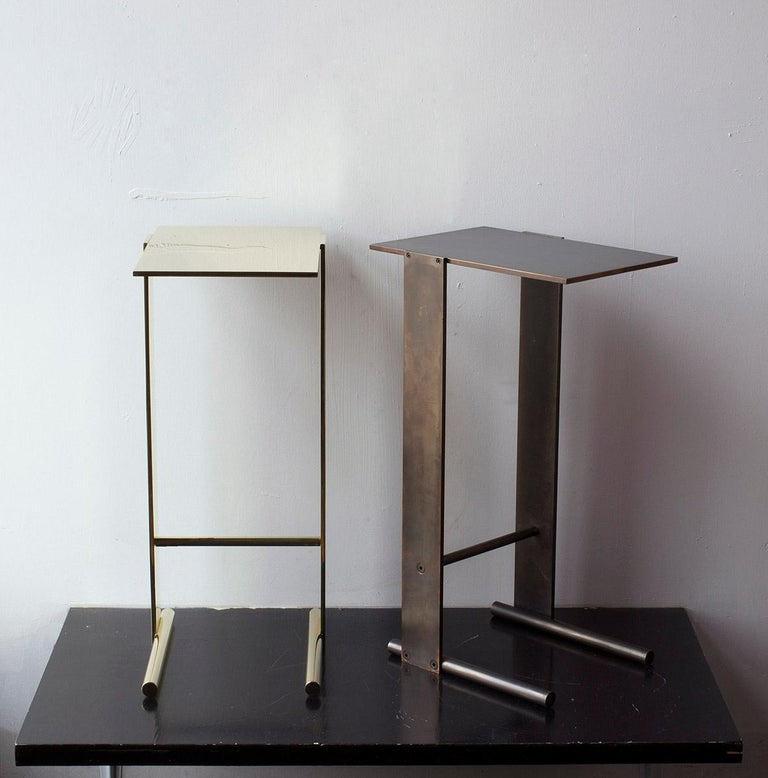Untitled Side Table Matte Blackened Brass Small Accent, End or Drink Stand For Sale 3