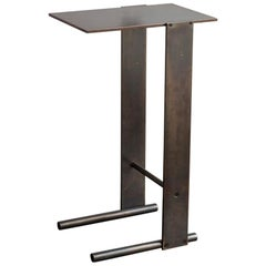 Untitled Side Table Matte Blackened Brass Small Accent, End or Drink Stand