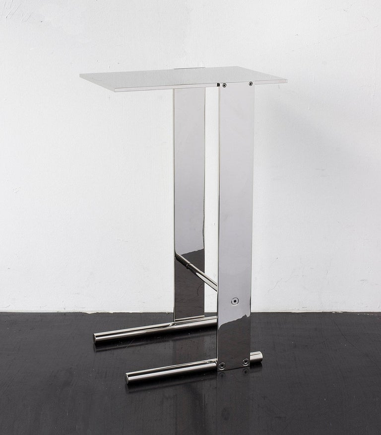 Untitled Side Table Polished Unlacquered Brass Small Accent, End or Drink Stand For Sale 1