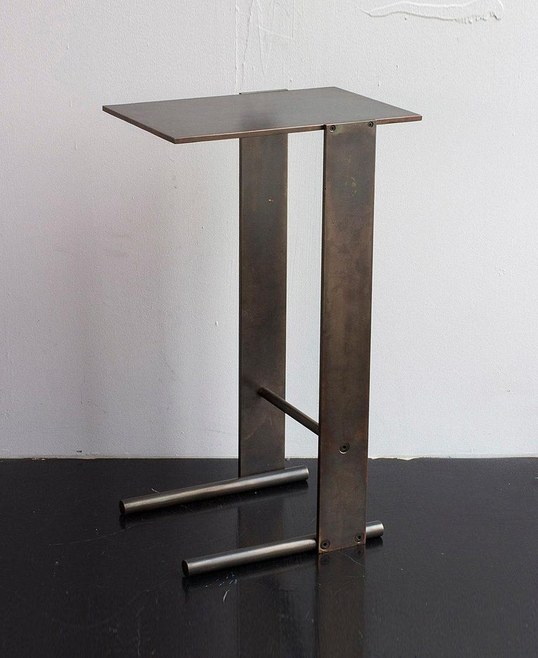 Untitled Side Table Polished Unlacquered Brass Small Accent, End or Drink Stand For Sale 2