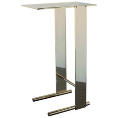 Untitled Side Table Polished Unlacquered Brass Small Accent, End or Drink Stand
