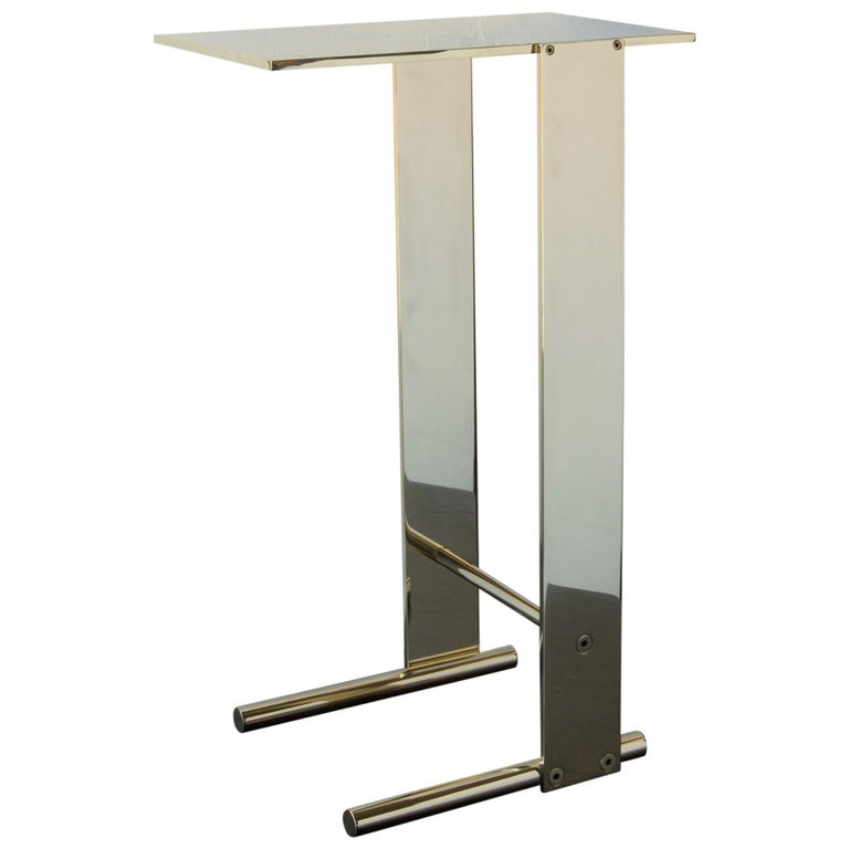 Untitled Side Table Polished Unlacquered Brass Small Accent, End or Drink Stand For Sale