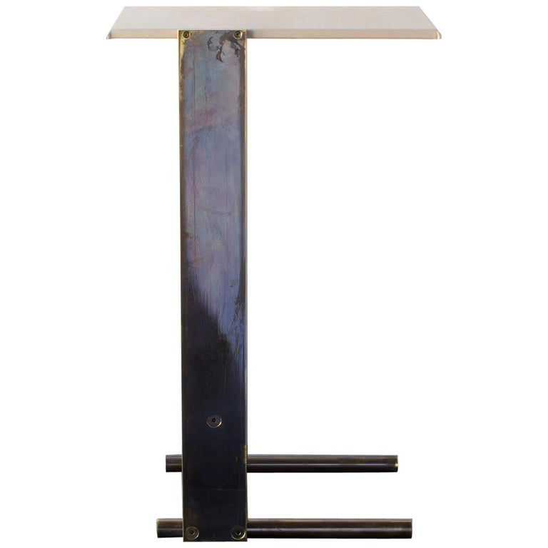 """Untitled Side Table """"Smoke"""" Patinated Brass Small Accent, Leather Top Drink Tray For Sale"""