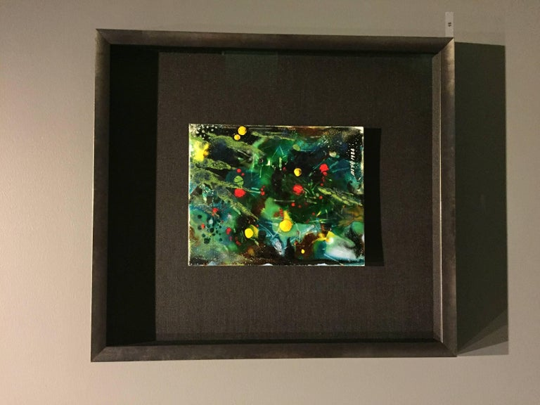 Modern Untitled VII by Ming Chiao Kuo, Enamel Painting on Copper, 1984, Framed For Sale