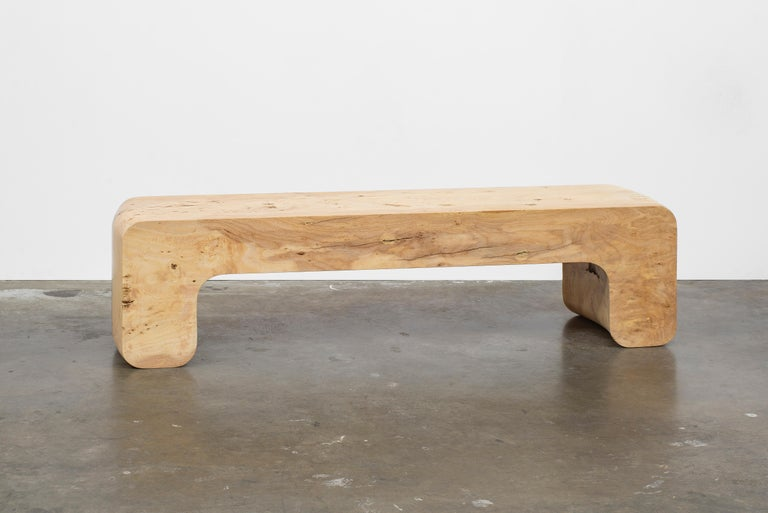Modern Untitled Waxed Ash Sculptural Bench by Christopher Norman For Sale