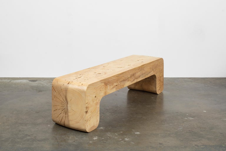 American Untitled Waxed Ash Sculptural Bench by Christopher Norman For Sale