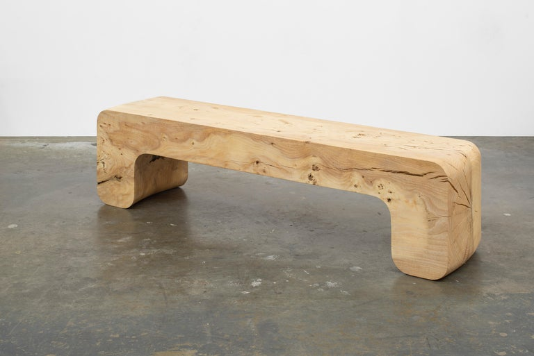 Untitled Waxed Ash Sculptural Bench by Christopher Norman In New Condition For Sale In Brooklyn, NY