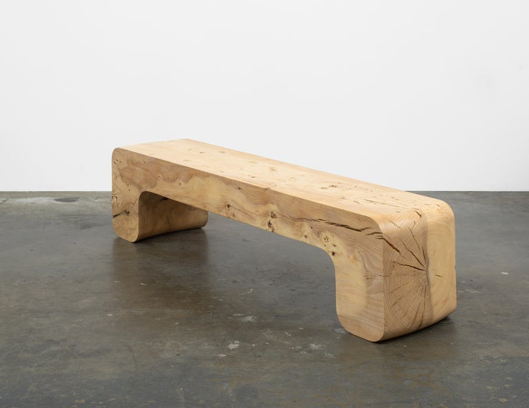 Contemporary Untitled Waxed Ash Sculptural Bench by Christopher Norman For Sale