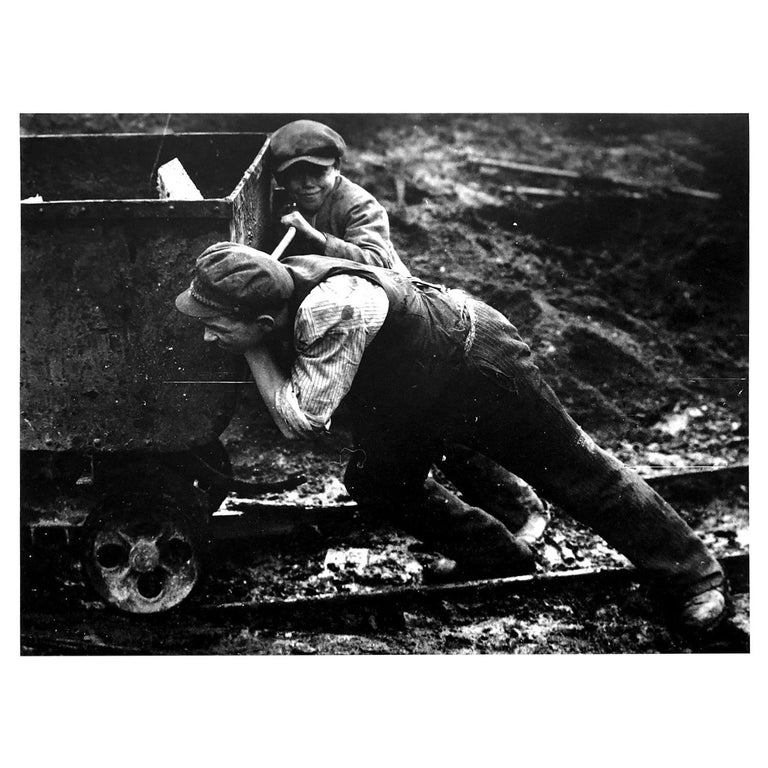 Untitled 'Young Boys Pushing Mine Trolley', Silver Gelatin Print For Sale