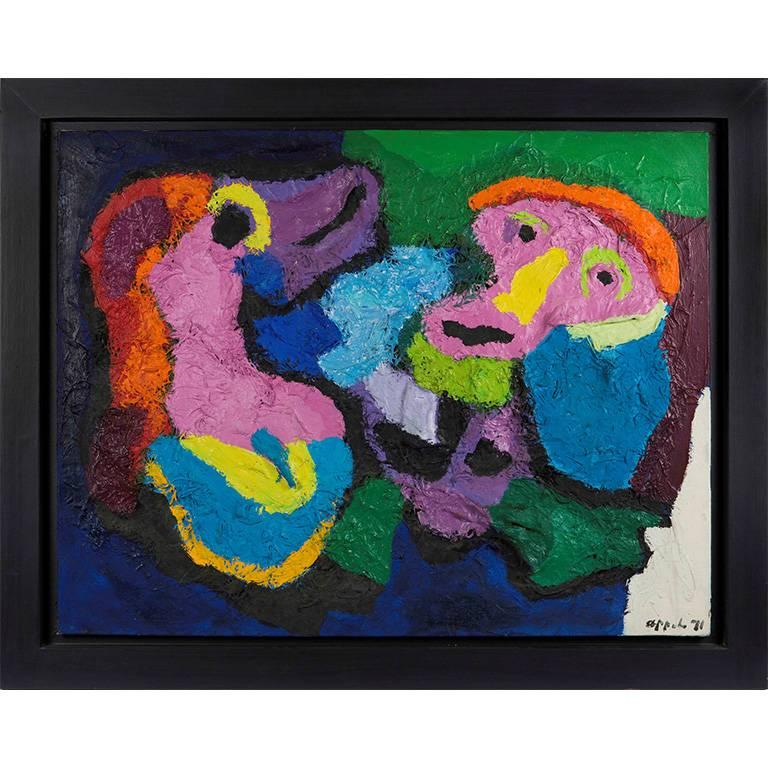 """Untitled"" Karel Appel Mixed-Media on Canvas Decorative Painting, 1971"