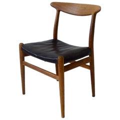 Untouched Hans Wegner C.M. Madsen Black Leather Seat Teak Dining or Desk