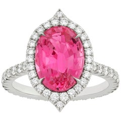 Untreated 4.03 Carat Pink Sapphire Diamond Halo Ring