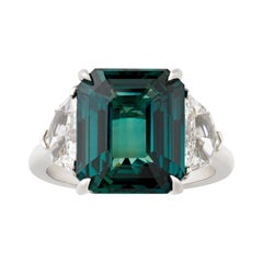 Untreated Bluish-Green Sapphire Ring, 8.03 Carats