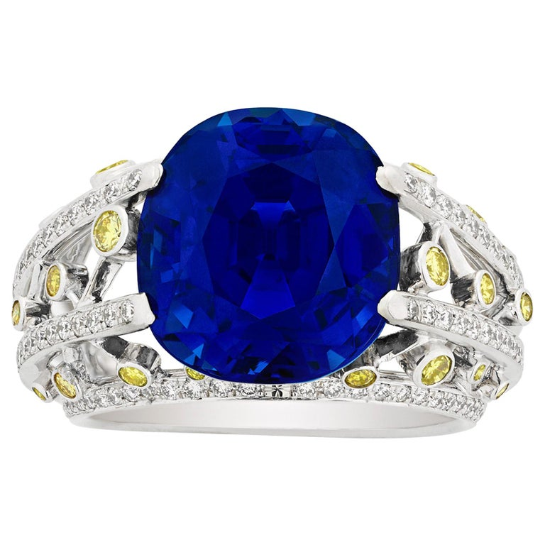 Untreated Ceylon Sapphire Ring by Fred, 15.24 Carat For Sale