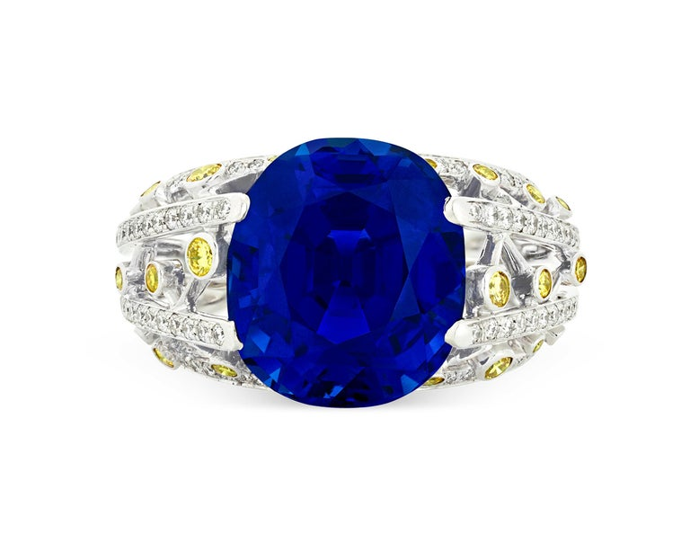 The rare beauty of a vividly hued, untreated Ceylon sapphire takes center stage in this bold and breathtaking ring crafted in Paris by internationally renowned jeweler Fred. Boasting an impressive 15.24 carats, this antique cushion-cut royal blue