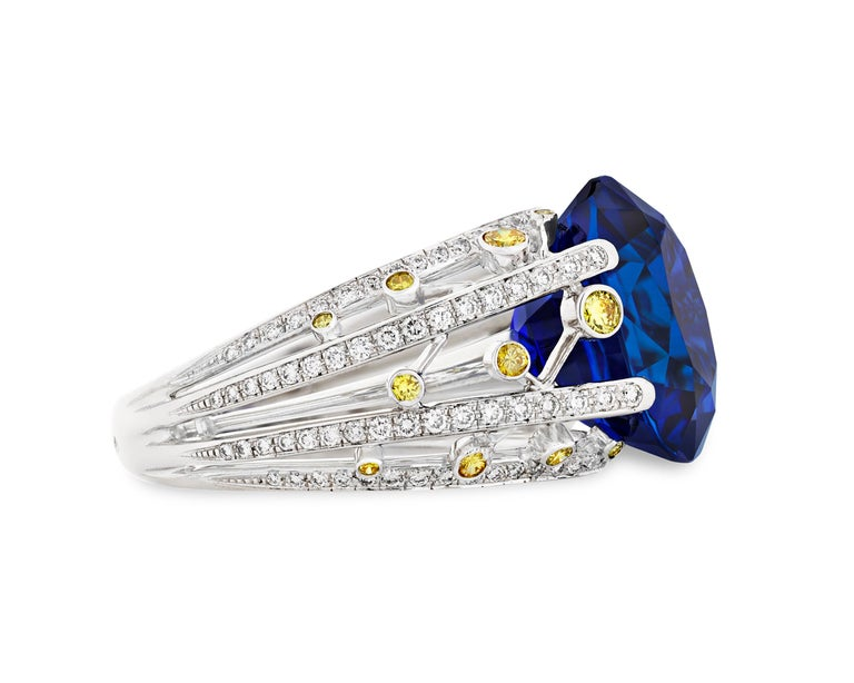 Modern Untreated Ceylon Sapphire Ring by Fred, 15.24 Carat For Sale
