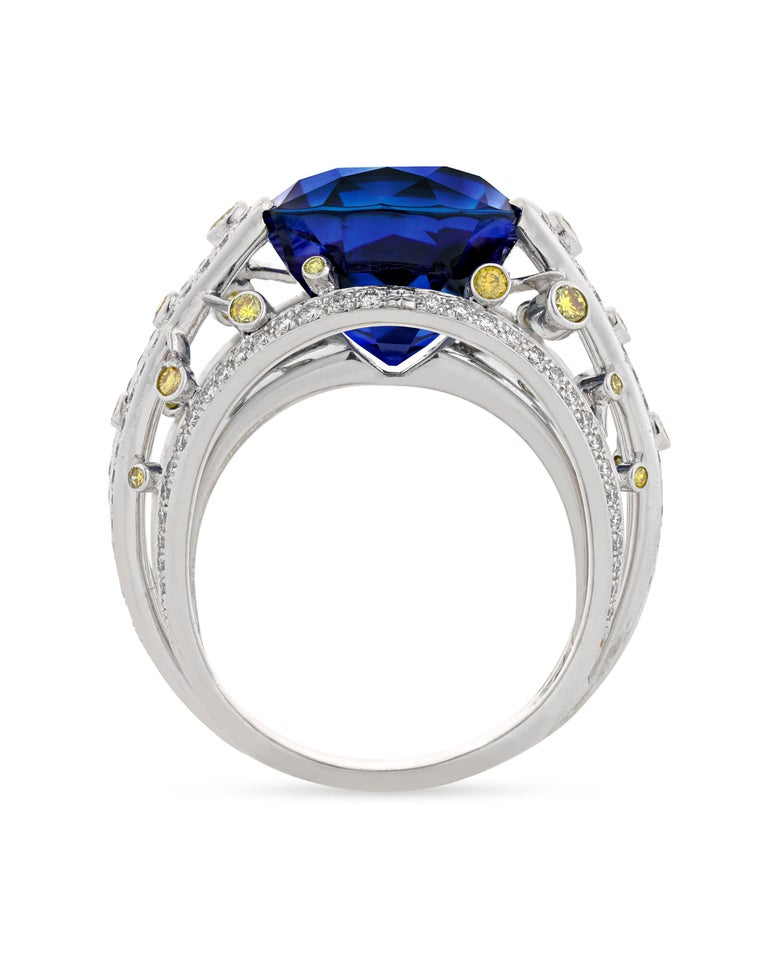 Cushion Cut Untreated Ceylon Sapphire Ring by Fred, 15.24 Carat For Sale