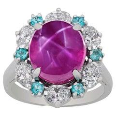 Untreated Ceylon Star Ruby Ring by Oscar Heyman, 9.61 Carats