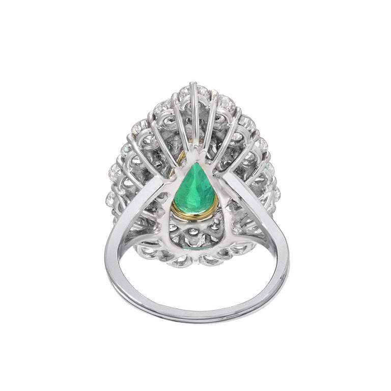 Pear Cut Colombian Emerald Ring 5.31 Carat AGL Certified Natural Untreated No Oil For Sale