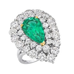 Natural Colombian Emerald Pear Shape Ring Diamond Platinum Vintage Ring
