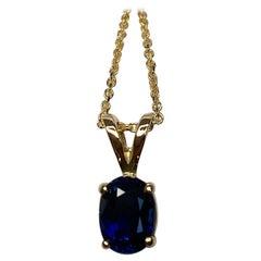 Untreated Deep Blue Sapphire Oval Cut 1.02 Carat Gold Solitaire Pendant Necklace
