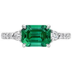 Untreated Emerald Ring 1.47 Carat No Oil AGL Certified