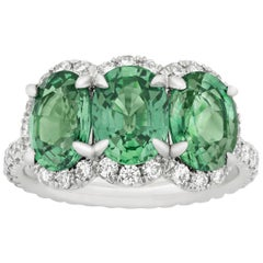 Untreated Green Sapphire Ring, 4.69 Carat
