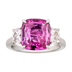 Untreated Pink Sapphire Ring, 5.07 Carats