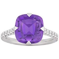 Untreated Purple Sapphire Ring, 4.07 Carat