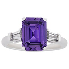 Untreated Purple Sapphire Ring, 4.10 Carat