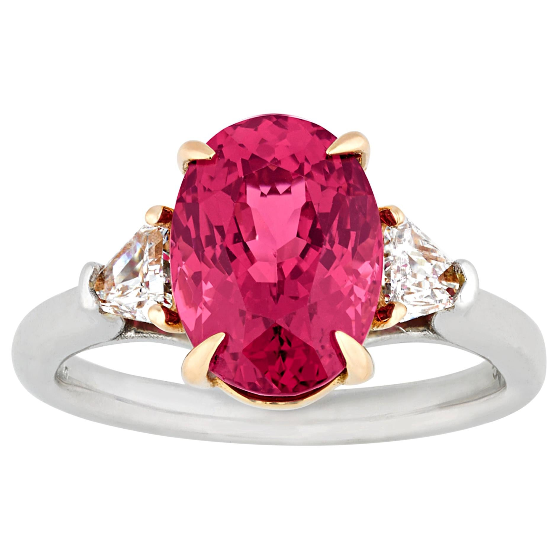 Untreated Red Spinel Ring, 4.07 Carat