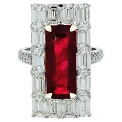 Untreated Ruby and Diamond White Gold Cocktail Ring