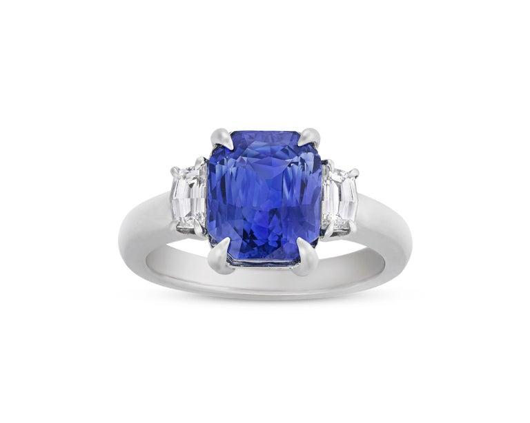 Cushion Cut Untreated Sapphire Ring, 3.56 Carat
