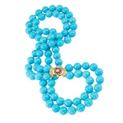 Untreated Sleeping Beauty Turquoise Bead Ruby Diamond Gold Necklace