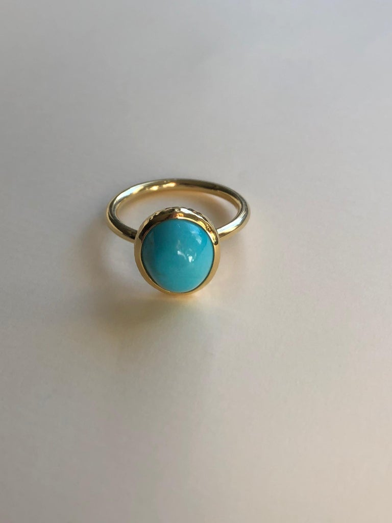 Modern Untreated Turquoise and 18 Karat Gold Cocktail Ring For Sale