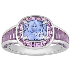 Untreated Violetish-Blue Ceylon Sapphire Ring, 2.58 Carat