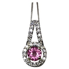 Untreated Vivid Pink Sapphire and Diamond 18 Karat White Gold Pendant Necklace