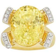 Untreated Yellow Ceylon Sapphire Ring, 15.28 Carat