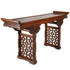 Unusal 19th Century Chinese Hardwood Alter Table