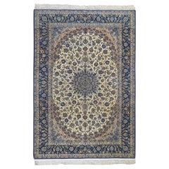 Unused Vintage Persian Isfahan 400 KPSI Wool and Silk Hand Knotted Oriental Rug