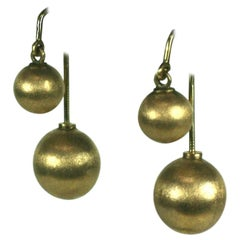 Unusual 14k Gold Back to Front Ball Drop Earrings