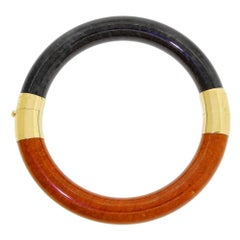 Unusual 14K Gold Black & Rust Jade Two-Tone Bangle Bracelet Hong Kong 7.50 Wrist